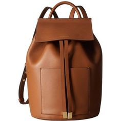 Michael Kors Miranda Backpack (Luggage) Backpack Bags featuring polyvore, women's fashion, bags, backpacks, leather strap backpack, drawstring bag, brown leather backpack, day pack backpack and michael kors bags