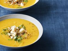 Roasted Butternut Squash Soup and Curry Condiments from FoodNetwork.com