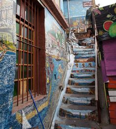 Beautiful stairs and steps: Valparaiso mural steps Chile