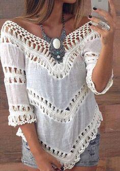 Boho-Style V-Neck Top- Features Boho Crochet Lace Design