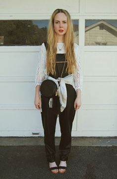 Ukulele Shirt, Elizabeth & James Shirt, Nasty Gal Bag, Lulus Leather Overalls