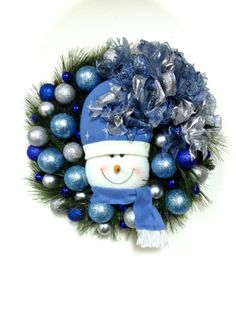 "Snowman Wreath Blue Silver White Christmas Wreath 18"" Long Needle Pine Wreath on Etsy, $69.00"