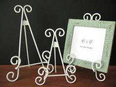 9 11 13 WHITE TABLETOP EASELS Metal Wire Wedding by SykesStudios