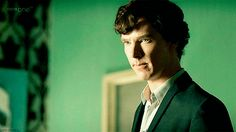 "(GIF.) Sherlock's little ""no"" face. Definitely one of my new favorite gifs of him!"