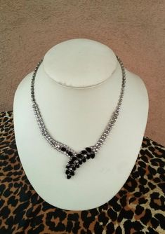 Vintage 1950s Necklace Rhinestone Black Marquis 50s Choker 16 inches 2016148 - pinned by pin4etsy.com
