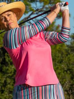 If you're in the market for some new outfits, consider our women's apparel! Shop this comfortable and stylish Hot Toddy (Rosada) JoFit Ladies & Plus Size Vista 3/4 Sleeve Golf Mock Shirt from Lori's Golf Shoppe.
