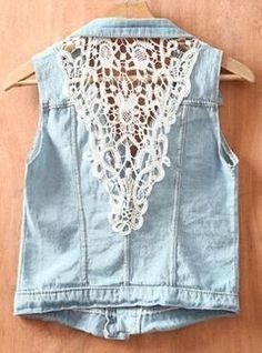 Lace Denim vest,  Go To www.likegossip.com to get more Gossip News!