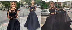 Sexy Black Prom Dress, Lace Long Sleeve Prom Dress,2016 Prom Dress, Two Pieces Prom Dress, Long Evening Gown, High Quality Wedding & Evening Prom DressesWant a glamorous red carpet look for a fraction..