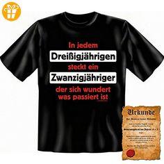 Lustige Sprüche Fun Tshirt In jedem Dreißigjährigen steckt ein…! - 30. Geburtstag tshirt mit Urkunde! (*Partner-Link)