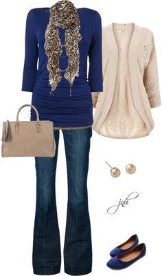 sapphire blue & tan-- Very nice look. I love the #sweater!