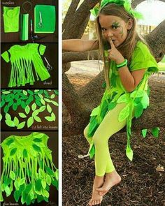 Grünes T-Shirt grüne Filzgamaschen und Verkleidung The Effective Pictures We Offer You About diy halloween lanterns A quality picture can tell you many things. Costume Halloween, Halloween Crafts, Halloween Party, Fairy Costume Kids, Halloween 2019, Poison Ivy Costume Kids, Halloween Decorations, Christmas Decorations, Dress Up Costumes