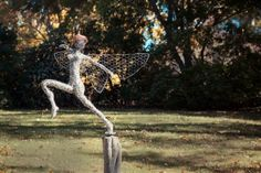 Dancing and flying wire fairies, metal art, Wire fairy sculpture. Breathtaking one of a kind stainless steel wire fairy sculpture. Fantasy Wire, Wire Sculptures, Stainless Steel Wire, Wire Art, Heron, Faeries, Metal Art, Garden Sculpture, Dancer