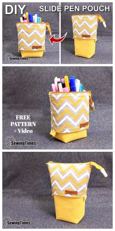 Pencil Case Pattern, Diy Pencil Case, Pouch Pattern, Pencil Pouch, Pencil Case Tutorial, Purse Tutorial, Pencil Cases, Small Sewing Projects, Sewing Projects For Beginners