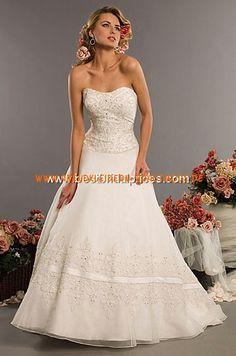 2013 Brautkleider günstig aus Satin und Chiffon mit Schleppe