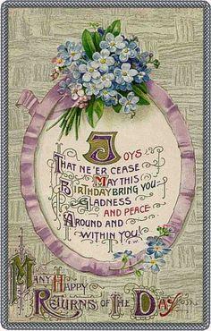 Many Happy Returns of the Day,vintage Birthday postcard