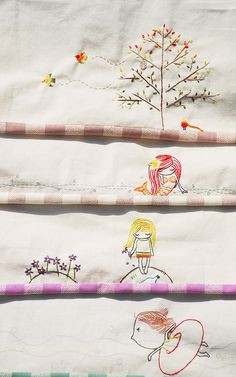 cute embroidery edges for quilt backs Cute Embroidery, Embroidery Needles, Cross Stitch Embroidery, Embroidery Patterns, Crazy Quilting, Sewing Crafts, Sewing Projects, Thread Art, Fabric Art