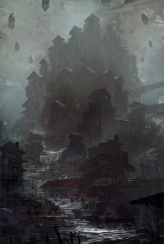Feng Zhu. Love the atmosphere created here. The depth and darkness imply a hidden dark destruction, could help inform illustration of ww3.