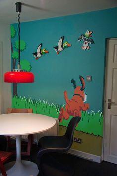 8 Bit Duck Hunt wall with lego ducks Etsy seller madebymecreative is selling… Nerd Decor, Game Room Decor, Wall Decor, Geek Mode, Deco Gamer, 8bit Art, Video Game Rooms, Game Room Design, Gamer Room