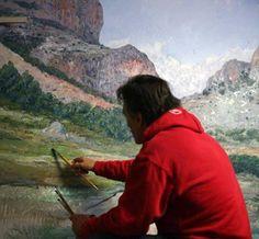 Pintar con espátula paisajes hermosos | Pintar al óleo Mountains, Nature, Acrylics, Travel, Pastels, Paintings, Cape Clothing, Painting & Drawing, Oil Painting Tutorials
