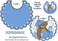 Night time teddy with its favourite blue blanket on bib on Craftsuprint - Add To Basket!