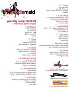 Blog design checklist by the Media Maid, Katrina Chambers