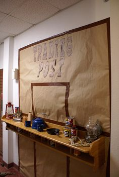 Trading Post instead of a classroom store! Classroom Window Display, Classroom Displays, Classroom Themes, Summer Camp Crafts, Camping Crafts, Sunday School Themes, God Themes, Dramatic Play Themes, Class Decoration