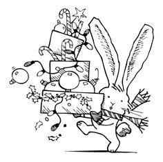Inkadinkado - Christmas - Clear Acrylic Stamps - Mini Decorating Rabbit at Scrapbook.com