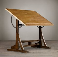 RH's French Drafting Table:Reproduced in exacting detail from an early French architect& table. Antique Drafting Table, Wood Drafting Table, Table Desk, Table Furniture, Furniture Design, 1920s Furniture, Tilt Table, Funky Furniture, Handmade Furniture