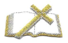 Bible - Bible W/Cross - Embroidered Iron On Applique Patch - Gold & Silver