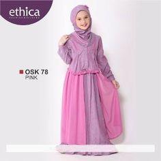 Baju Gamis Anak Ethica OSK 78 PINK - Ramadhan Sale Baby Hijab, Dress Anak, Girls Bridesmaid Dresses, Hijab Tutorial, Girls Party Dress, Holidays And Events, Fashion Muslimah, Niqab, Model