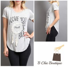 Adorable Graphic Tee I love you to the moon and back graphic tee. Super soft, made of rayon spandex blend. Bchic Tops Tees - Short Sleeve