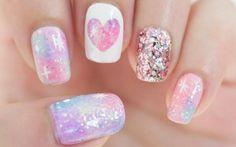 ✦ Pink Galaxy Nails ✦ Pink Galaxy Nails (no nail art tools needed, just a striper and some tape) // elleandish. Fancy Nails, Diy Nails, Cute Nails, Pretty Nails, Sparkly Nails, Bling Nails, Fabulous Nails, Gorgeous Nails, Nail Art Galaxie