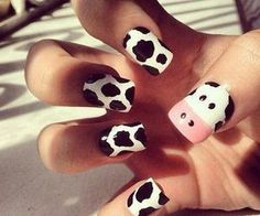 cow nails in black and white nails White Nail Art, White Nails, White Polish, Black Nail, Pink Nail, Nail Art Blanc, Nail Art Designs, Nails Design, Animal Nail Designs
