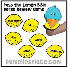 Bible Verse Review Game - Pass the Lemon Bible Verse Review Game for The Fruit of the Spirit Bible Lesson on www.daniellesplace.com