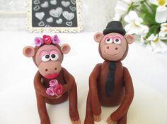 Monkey wedding cake topper, bride and groom, cake decor, wedding reception  #weddingcaketopper #cakedecor #weddingreception #Monkey #cute