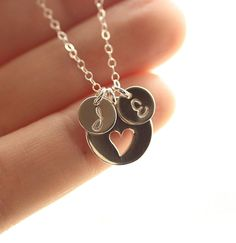 Personalized Mothers Necklace, Two Sterling Silver Initial Charms, Heart Necklace,