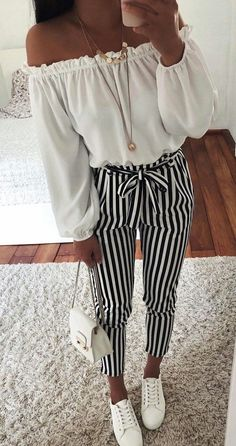 2018 new Autumn Black and White Casua Belt Striped Pants Women fashion – rricd., Spring Outfits, 2018 new Autumn Black and White Casua Belt Striped Pants Women fashion – rricdress. Casual Summer Outfits For Teens, Summer Outfit For Teen Girls, Black And White Outfits For Teens, Cute Spring Outfits, Spring Fashion Outfits, Girls Wear, Spring Dresses, Cute Clothes For Teens, Summer Outfits For Teen Girls Hipster