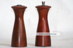 Modern Teak Mid - Century Modern Teak Pepper Grinder & Salt Shaker Made In Englad Mid-Century Modernism photo