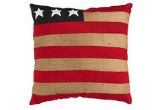 Love Love Love American Flag Burlap Pillow on OneKingsLane.com