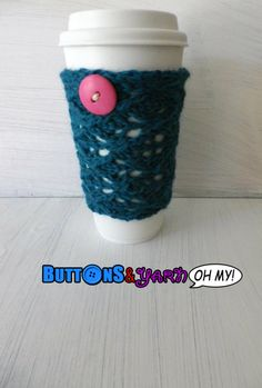 Teal Travel Mug Sleeve Knit Cup Cozy by ButtonsandYarnOhMy on Etsy, $7.00