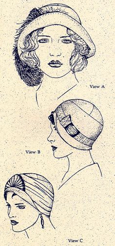 """WOMANS HAT PATTERNS 2 Numerous requests prompted the addition of the """"Cloche"""" to our pattern line. With three brim options, this silouette is soft, feminine, and close to the head, emphasizing the eyes and mouth. In woolens for Winter and linens, cottons and sheers for Summer."""