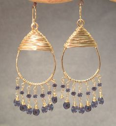 Kashmir 34 Filagree drops with blue sapphire by CalicoJunoJewelry