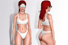 Naked Wardrobe tank me to tahiti bikini with Luv Aj bodychain and choker • Everyday / Swimwear • Sims3pack / Package DOWNLOAD