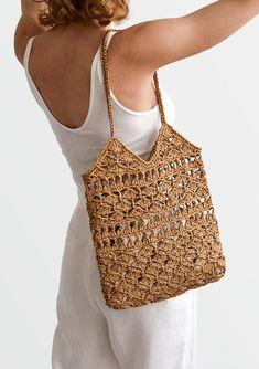 READY TO SHIP / Crochet Raffia Tote Bag in Tan Summer Tote | Etsy