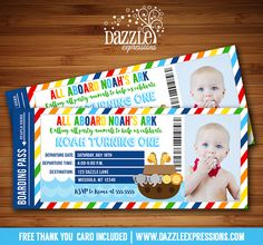 Printable Noah's Ark Ticket Birthday Invitation | Noahs Boat | Bible Story Party | Kids 1st Birthday or Baby Shower Idea | Animals | Twins Birthday | Cupcake Toppers | Favor Tag | Drink and Food Labels | Banner | Signs | Party Package available! www.dazzleexpressions.com