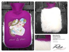 Wärmflasche 'pfüati Friends' -- 100% Schurwoll-Filz magenta 50 - GummiWärmflasche - Kaninchen Langhaar naturweiss bayrisch glücklich - Grösse 26 x 16 cm