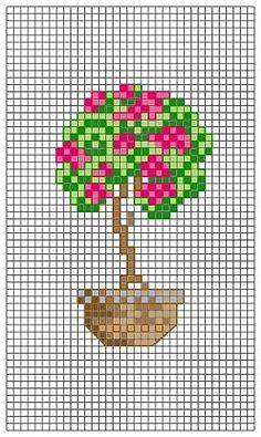 Pot-of-flowers-Florwer-pot - Vase-a-fleurs. Cross Stitch Tree, Mini Cross Stitch, Cross Stitch Needles, Cross Stitch Cards, Modern Cross Stitch, Cross Stitch Flowers, Counted Cross Stitch Patterns, Cross Stitch Designs, Cross Stitching