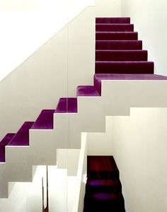 Purple carpet on the stairs - are we bold enough? Interior Stairs, Interior And Exterior, Interior Design, Purple Interior, Architecture Details, Interior Architecture, Building Architecture, Purple Carpet, Purple Velvet