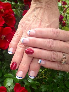 4th of July French manicure