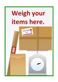 Post Office Roleplay Poster - Weigh your Items...Editable 'weigh your items here' poster, part of our post office role play series.